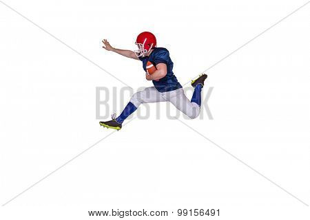 American football player jumping with the ball on a white background