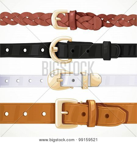 Set Of Multicolored Buttoned To Buckle Belts Isolated On White B
