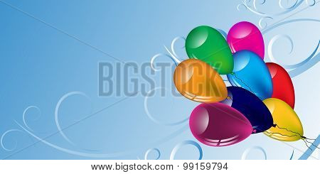 Multicolored Balloons And Patterns On A Light Background.vector