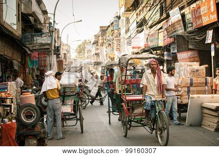 Cycle rickshaw on the street of Old Delhi
