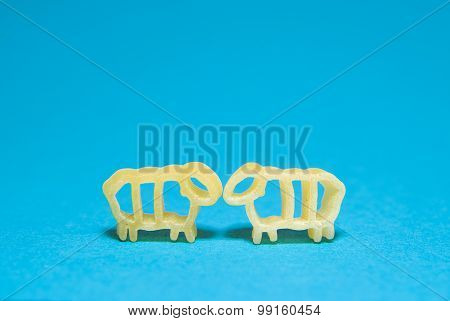 Pasta In The Form Of Animals P On A Blue Background