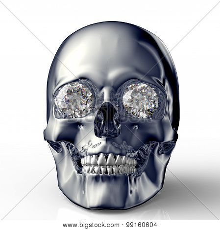 Scull With Diamond Eyes Isolated On White With Clipping Path