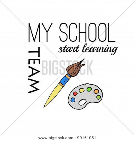 Freehand drawing school items. Back to School.
