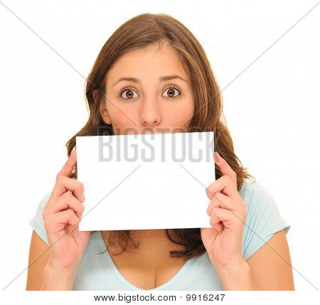 Beautiful young woman and blank card
