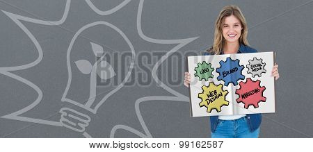 business cogs and wheels against grey background