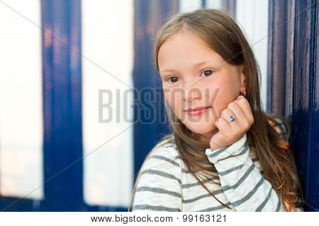 Close up portrait of a cute little girl