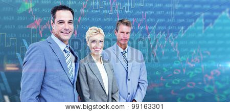 Businessman in a row with his business team against stocks and shares