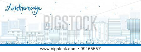 Outline Anchorage (Alaska) Skyline with Blue Buildings. Vector Illustration