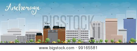 Anchorage (Alaska) Skyline with Grey Buildings and Blue Sky. Vector Illustration