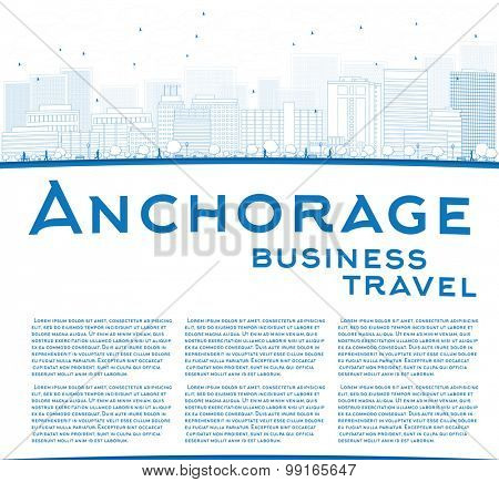 Outline Anchorage (Alaska) Skyline with Blue Buildings and copy space. Business travel concept. Vector Illustration