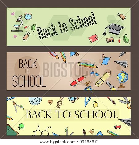 Freehand drawing school items. Banner set. Back to School.