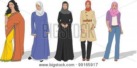 Group of beautiful Muslim women