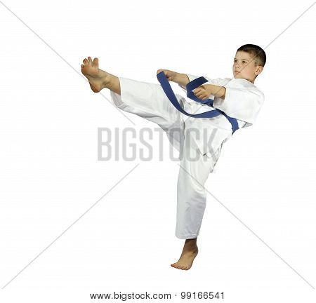 With blue belt sportsman is beating kick leg mae geri isolated