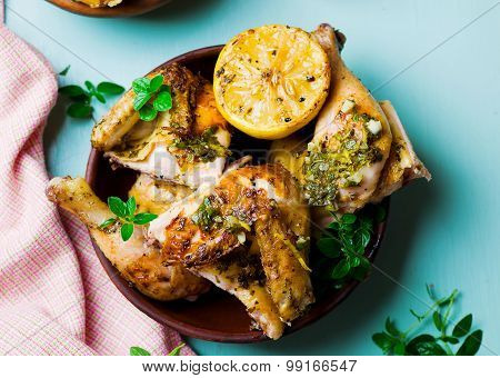 Chicken A Grill With A Lemon