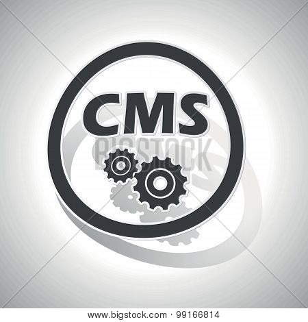 CMS settings sign sticker, curved