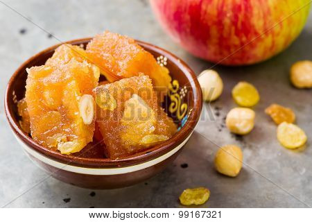 Apple Fruit Jelly On Indian.