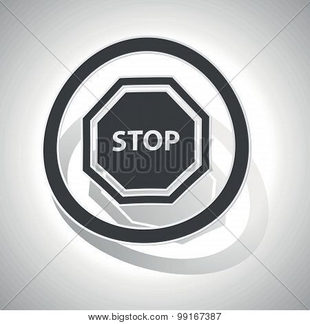 STOP sign sticker, curved