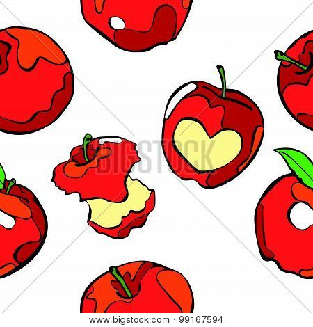 Apples. Vector seamless illustration. Fruit. Colored. Red apples.