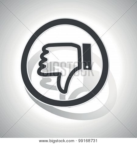Dislike sign sticker, curved