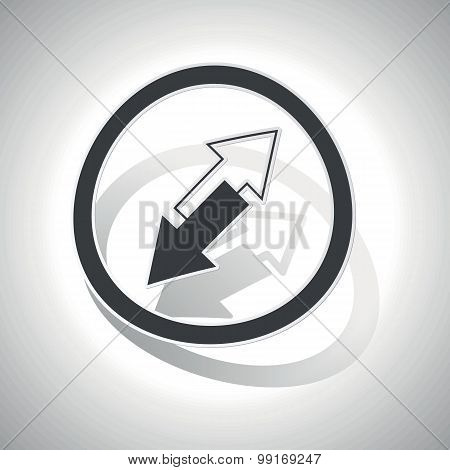 Opposite arrows sign sticker, curved