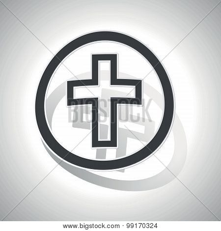 Christian cross sign sticker, curved
