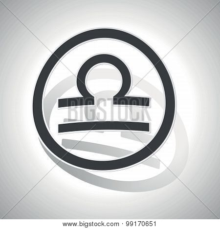 Libra sign sticker, curved