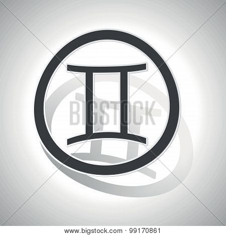 Gemini sign sticker, curved