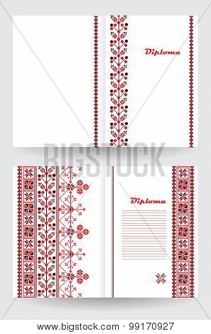 Certificate Or Diploma Template With Ethnic Ornament Pattern In White Red Black Colors