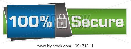 Hundred Percent Secure Green Blue Horizontal