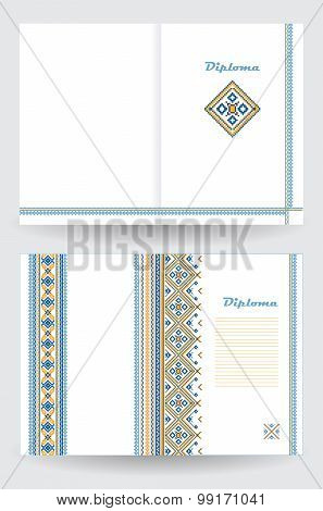Certificate Or Diploma Template With Ethnic Ornament Pattern In White Blue Yellow Colors