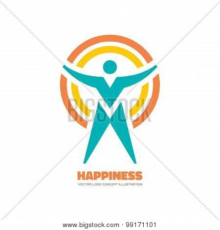 Happiness - vector logo concept illustration.
