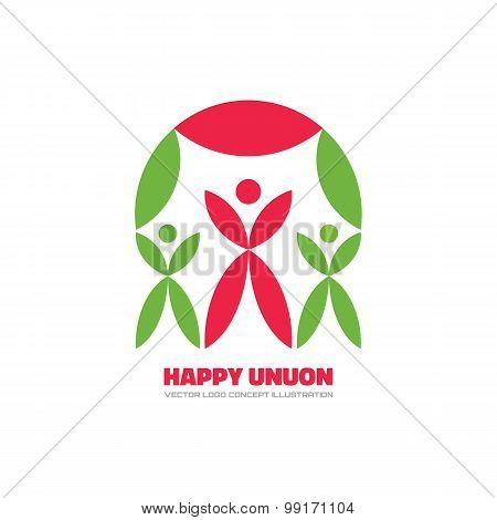 Happy Union - vector logo concept illustration.