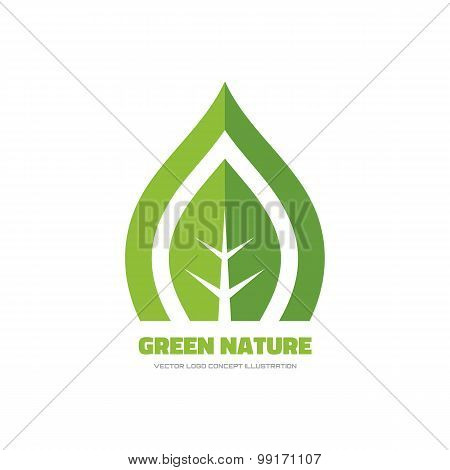 Green nature - vector logo concept illustration.