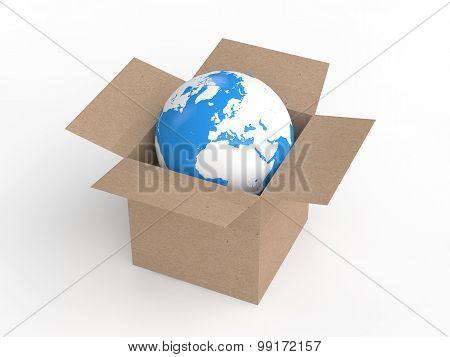 3d earth globe in carton box