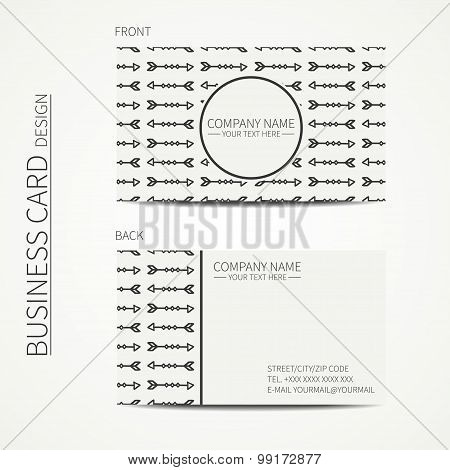 Geometric monochrome business card template with ethnic arrows for your design. Tribal native busine