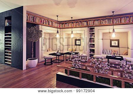 modern restaurant interior design. 3d concept