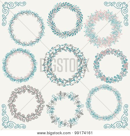 Colorful Hand Sketched Rustic Frames, Borders, Corners