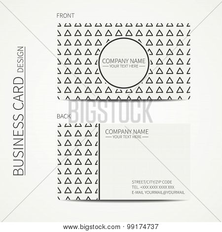 Geometric monochrome business card template with hipster triangle for your design. Tribal native bus
