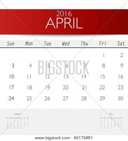 2016 calendar, monthly calendar template for April. Vector illustration.