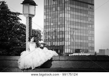 Bride Posing In City Black And White