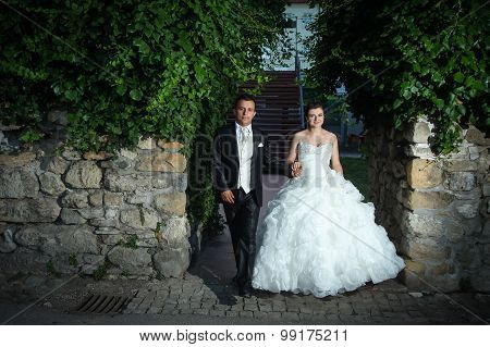 Newlyweds Holding Hands And Walking