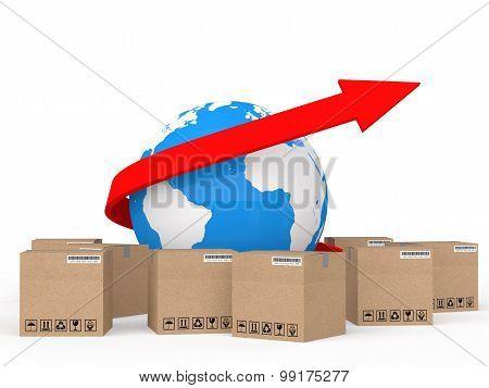 3d globe arrow and shipping cartons
