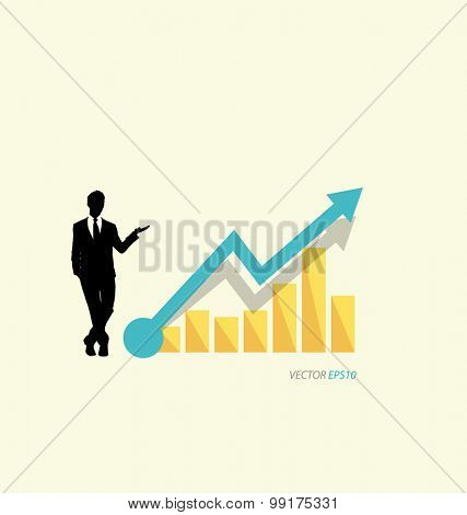 Modern design graph. Business graph to success, can use for business concept. Vector illustration.