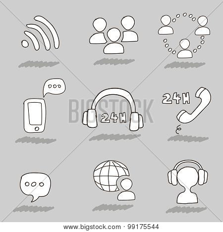 Call center hand drawn icons