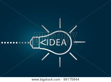 Abstract image with drawn light bulb on blue background