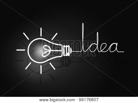Abstract image with drawn light bulb on black background