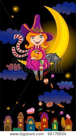 Halloween greeting card or invitation with cute cartoon witch