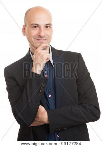 Bald Man In Black Suit Thinking