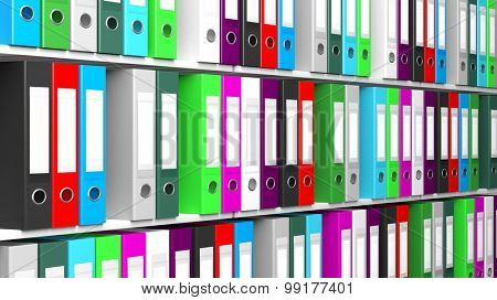 Multicolor office folders with blank label in a row on shelves