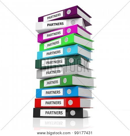 Multicolor office folders with label Partners isolated on white background